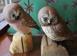 Pair of Carved Owls
