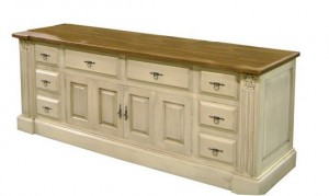 "Elegance Entertainment Sideboard ; side drawers; bifold wood doors over lower center - 85""l 24""d 32""h"