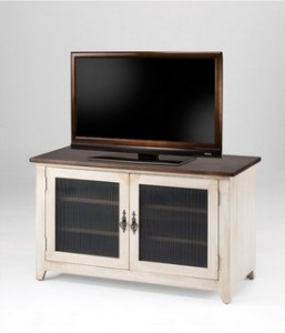 "Hillside TV Stand; reeded glass panels - 40""w x 18""d 24""h"